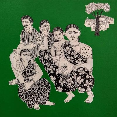 """Laxman Aelay, 'Untitled, Acrylic on Canvas, Green, Black, White Colours by Contemporary Indian Artist """"In Stock""""', 2018"""