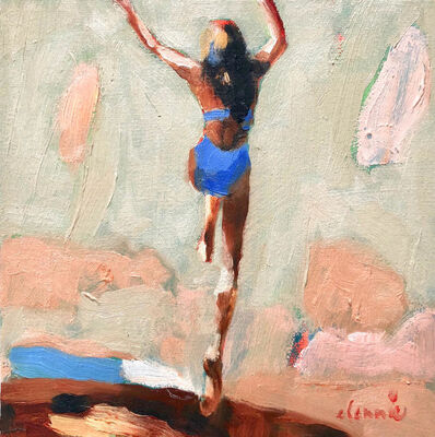 """Elizabeth Lennie, '""""Mythography #129"""" abstract oil painting of a girl jumping in the water', 2018"""
