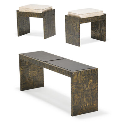 Paul Evans, 'Patchwork console table and pair of Patchwork benches, USA', 1970s