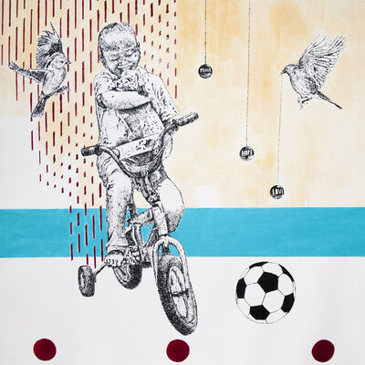 Edward Selematsela, 'Boy on a Bike with his Dog and a Soccer Ball', 2018