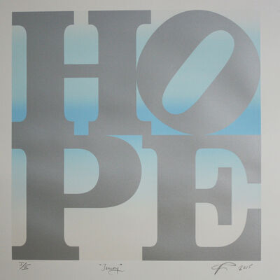 Robert Indiana, 'HOPE January (silver over white pearl-lt blue-white pearl blend) ', 2015