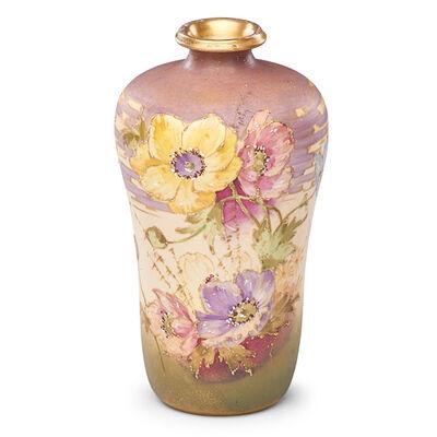 Paul Dachsel, 'Riessner, Stellmacher & Kessel, Amphora Vase With Poppies, Turn-Teplitz, Bohemia', 1900s