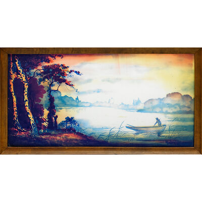 Muller Freres, 'Plaque With Fishing Scene (Framed), France', Early 20th C.