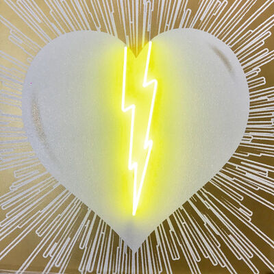 Rubem Robierb, 'Lightning Heart (White on Gold with Yellow Neon)', 2018