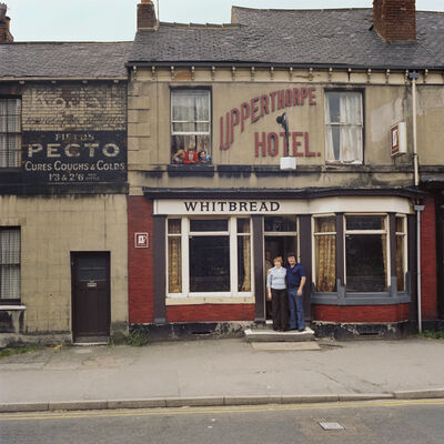 Peter Mitchell, 'Keith, Sandra & the kids. Sunday 25 June 1978. Closing time. Portland Street, Sheffield. ', 1978