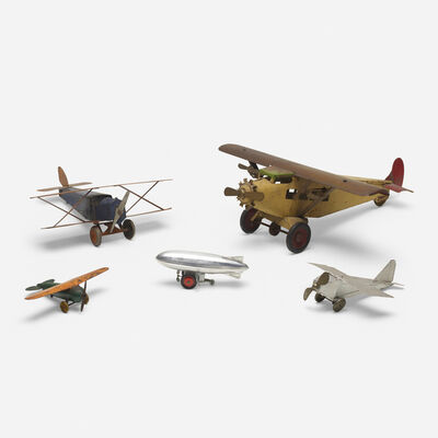 Unknown American, 'collection of five vintage toy planes', c. 1935