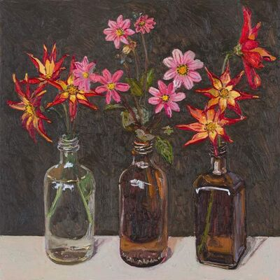 Lucy Culliton, 'Dahlias in bottles', 2018