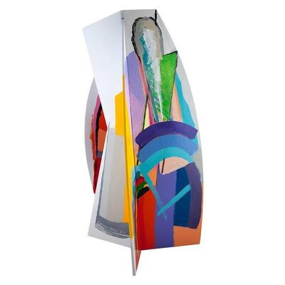 Calman Shemi, 'Israeli Circa 1980s Painted Aluminum Abstract Sculpture', 1980-1989