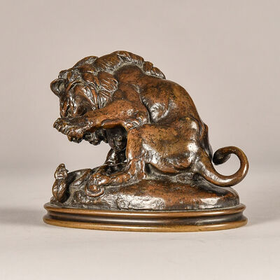 Antoine-Louis Barye, 'Lion and Serpent', 19th century