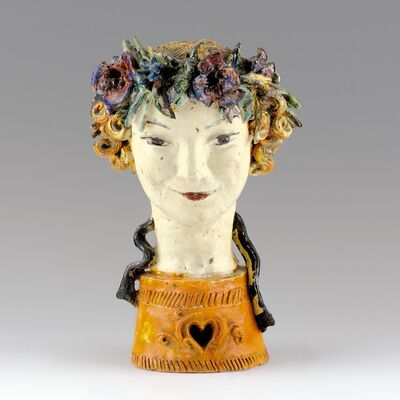 Susi Singer, 'Girl´s Head with Wreath of Flowers', After 1925