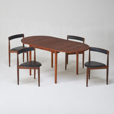 Hans Olsen, 'Set of four leather-back tripod nesting chairs together with teak drop-leaf extension dining table'