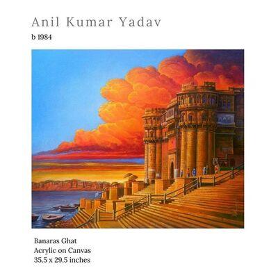 "Anil Kumar Yadav, 'Benaras Ghat, Acrylic on Canvas by Contemporary Indian Artist ""In Stock""', 2020"