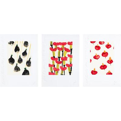 Donald Sultan, 'BLACK BELLS; PINK T'S; RED BELLS', 1995