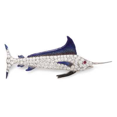Raymond Yard, '1920s Pavé Diamond and Enamel Sailfish Brooch', ca. 1920