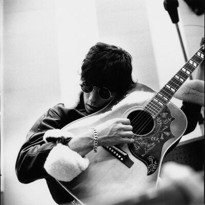Gered Mankowitz, 'Keith Richards with Guitar to Cheek. RCA Studios, Hollywood. These sessions for the Aftermath album were a great contrast to the stresses of life on the road, and everyone enjoyed being settled in L.A. for a few days.', 1965