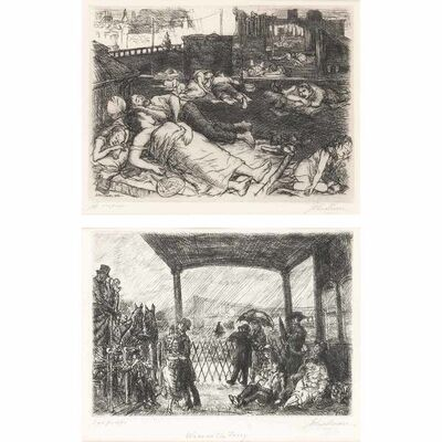 John Sloan, 'ROOFS, SUMMER NIGHT; WAKE ON THE FERRY (M. 137; 313)', 1906 and 1949 respectively