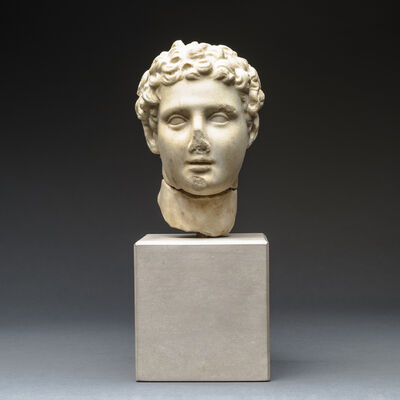 Unknown Greek, 'Hellenistic Marble Head of Alexander the Great', 300 BCE-100 BCE