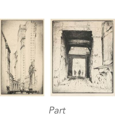 Henry Ziegler, '(i) BROAD STREET, NEW YORK; ARCHWAY, PARIS (ii) PASADA DE LA SANGRE, TOLEDO; MOORISH MARKET, GRANADA (iii) BOUND HOME'