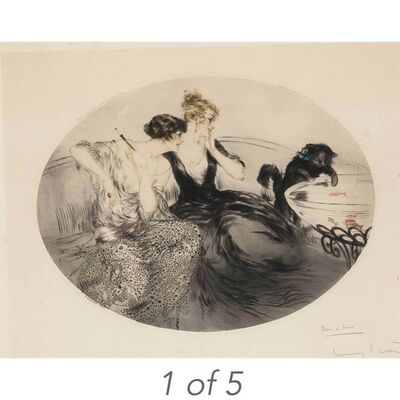 Louis Icart, 'FAVORITE; BLACK BOWS; FISHING; BLACK CAPE; HYDRANGEAS (HOLLAND/CATANIA/ISEN 111; 115; 181; 209; 373)', 1920 (2) 1923 circa 1924 and 1929-respectively