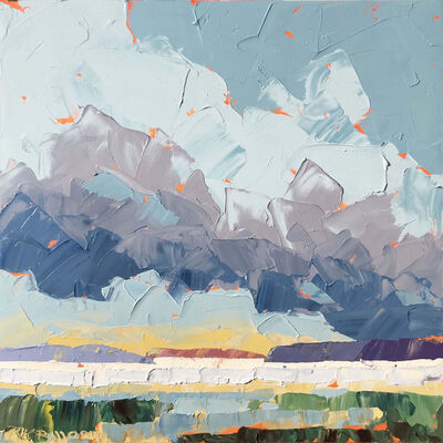 "Paul Norwood, '""Dark Clouds Study"" impasto acrylic painting of purple, gray and blue clouds over green marsh', 2020"