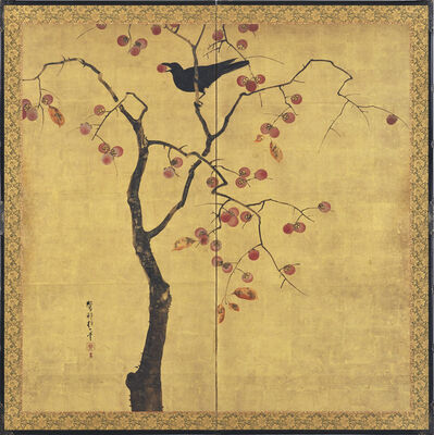 Sakai Hoitsu, 'A two-fold screen depicting a crow perched in a persimmon tree', Early 19th century, Edo period, Japan