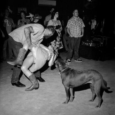 Chad Schaefer, 'Dancers and a Dog at the White Horse Saloon, Austin, TX', 2010