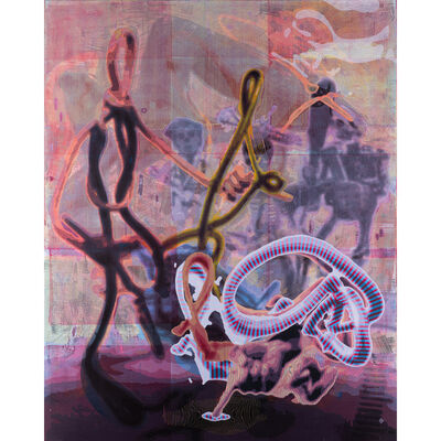 Markus Oehlen, 'Letztes Drahtbild n°1,  Acrylic on canvas', 2010