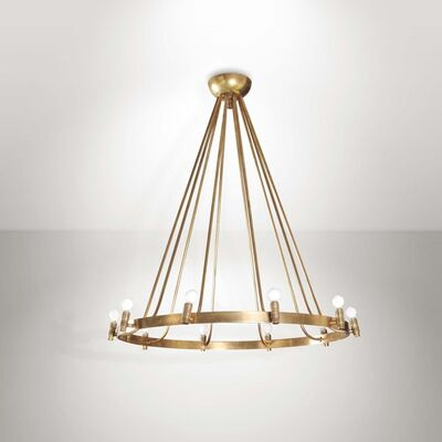 Gino Sarfatti, 'a large S00106 Variante pendant lamp with a brass structure', 1950 ca.
