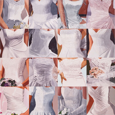 Julia Jacquette, 'White on White (Sixteen Wedding Dresses) III', 2005