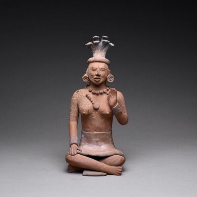 Mayan, 'Jaina Style Mayan Terracotta Sculpture of a Seated Woman', 600 AD to 900 AD