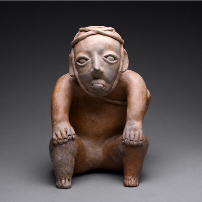 Jalisco, Mexico, 'Ameca-Ezatlán Style Jalisco Sculpture of a Seated Man', ca. 300 BC to 300 AD