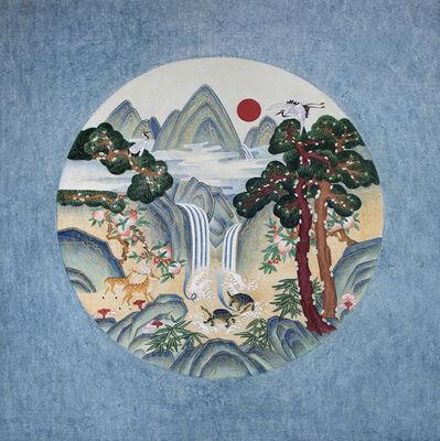 Kate Oh, 'Ten longevity (Blue)-Minhwa ', 2018