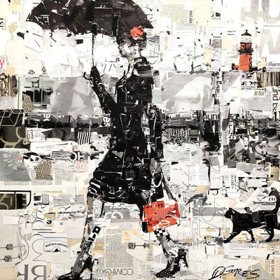 "Derek Gores, '""Cliffside Catwalk"" black and white collage of a woman walking with umbrella', 2019"
