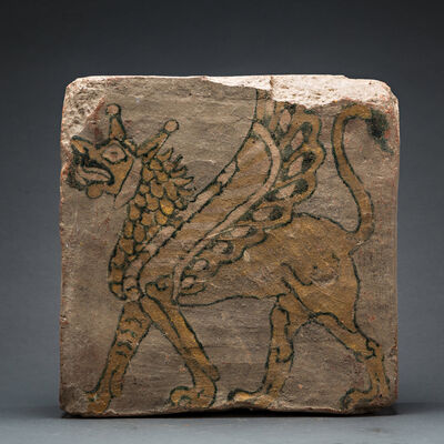 Unknown Assyrian, 'Assyrian Painted Tile with Mythical Creature', 900 BCE-600 BCE