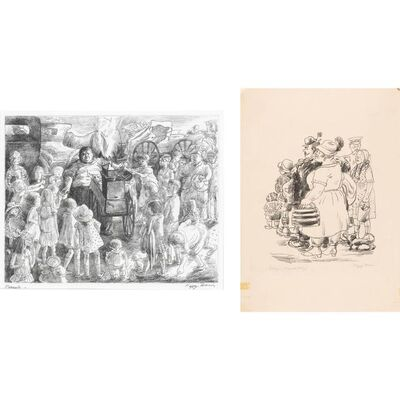 Peggy Bacon, 'PEANUTS; OUTING (FLINT 94; 103)', 1930 and 1931 respectively