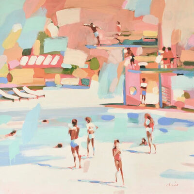 "Elizabeth Lennie, '""How to Do a Fly Dive"" Abstract oil painting of people at a pool in pastel pink and turquoise', 2019"