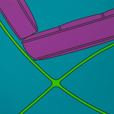 Michael Craig-Martin, 'Untitled (Barcelona chair fragment turquoise)', 2019