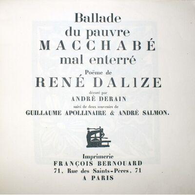 André Derain, 'Ballade du Pauvre Macchabé Mal Enterre', 1919