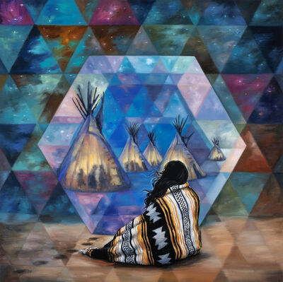 """Andrea Peterson, 'Twilight Portal (after Joseph Henry Sharp paintings titled """"Council Call of Crows: Firelight and Twilight"""" and """"Crucita, A Taos Indian Girl"""")', 2021"""