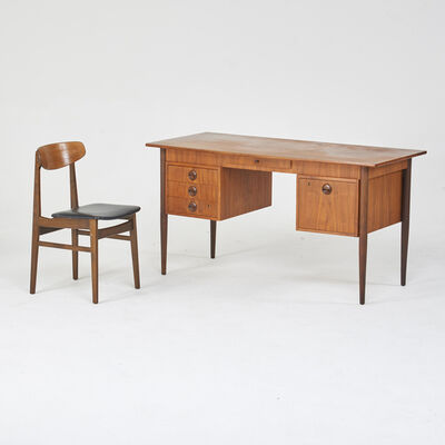 Maurice Villency Inc., 'Double pedestal desk and side chair', 1960s/70s