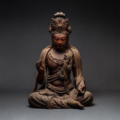 Unknown Chinese, 'Late Ming/Early Qing Wooden Seated Bodhisattva', 15-18