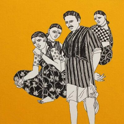 """Laxman Aelay, 'Untitled, Acrylic on Canvas, Yellow, Black, White Colours by Contemporary Indian Artist """"In Stock""""', 2017"""