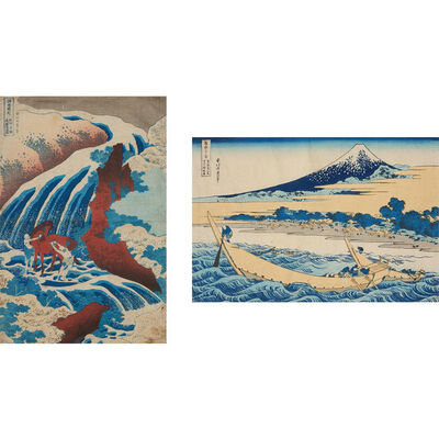 Katsushika Hokusai, 'Two Woodblock Prints: One from the series, Famous Waterfalls in Various Provinces, Yoshitsune Falls; and 36 Views of Mount Fuji, The coastline near Ejiri Tago on the Tokaido Road.'