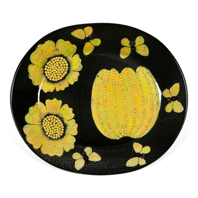 Birger Kaipiainen, 'Dish, decorated with yellow flowers and butterflies', 1960's