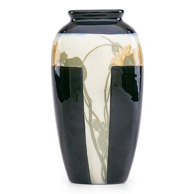 Sallie Coyne, 'Rare and unusual Black Iris vase with nasturtium (uncrazed), Cincinnati, OH', 1906