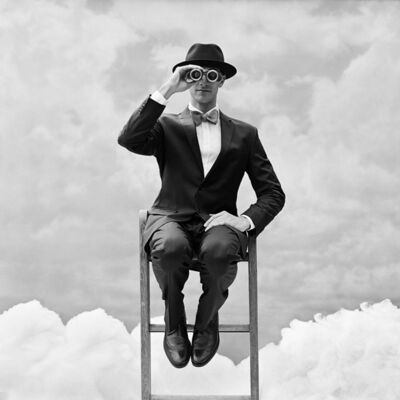Rodney Smith, 'Reed Perched on the top of Ladder with Binoculars, Snedens Landing, New York', 2012