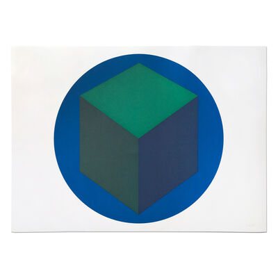 Sol LeWitt, 'Centered Cube within a Blue Circle', 1988