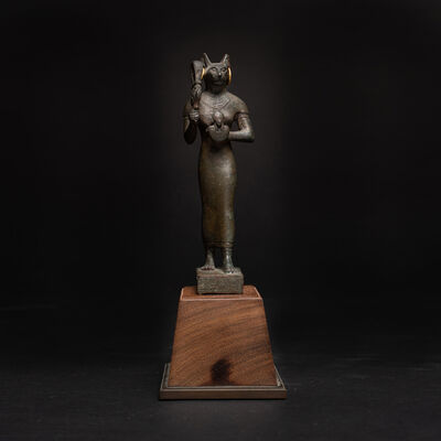 Unknown Egyptian, 'Egyptian Bronze Sculpture of Bastet with Gold Earrings', 664 BC to 525 BC