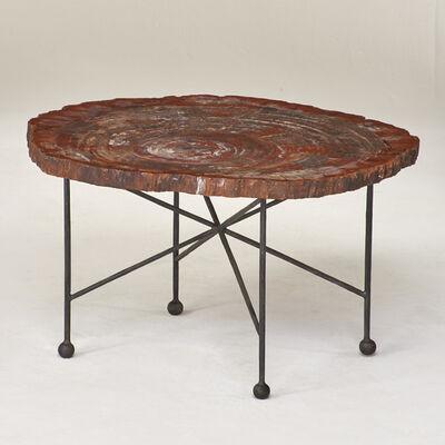 American Studio, 'Petrified wood table on enameled wrought iron  base'