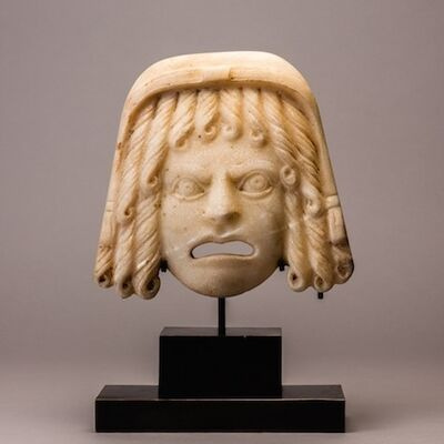 Italy, Rome, Roman Empire, 'Roman Marble Theatrical Mask', 100 AD to 300 AD